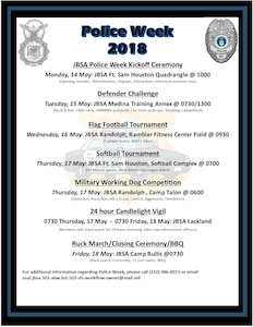 Events planned for the Joint Base San Antonio National Police Week.