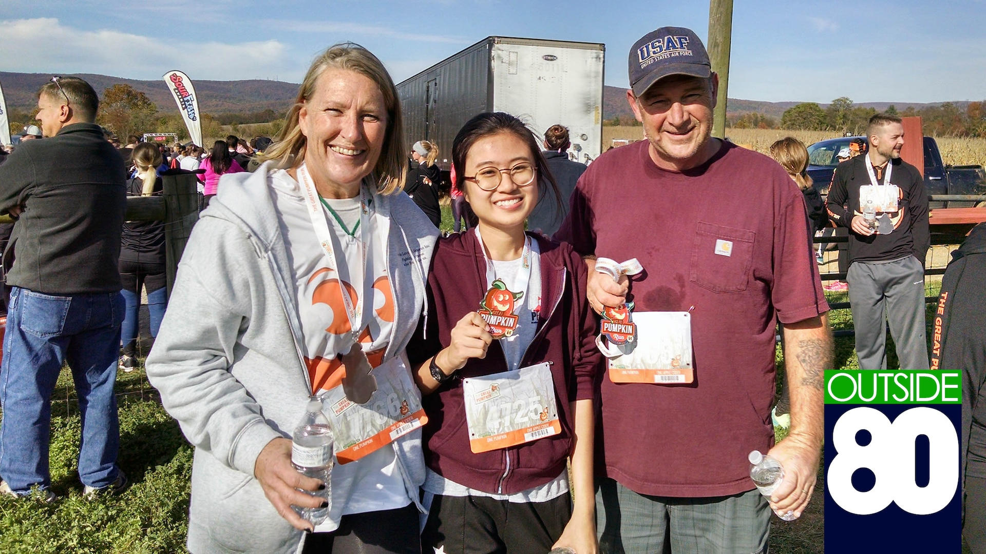 Tammy Van Scyoc, a Defense Contract Management Agency Small Business Office program analyst, Vasiporn, a 17-year-old high school junior and Thailand native, and Van Scyoc's husband Michael participated in the 2017 Great Pumpkin Run in Frederick, Maryland. For the past school year, Vasiporn has lived with the Van Scyoc's as part of the Program of Academic Exchange.