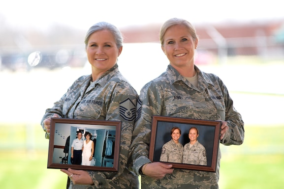 Master Sgt. Tammy Remley, Senior NCO in charge of inspections with the 178th Inspector General Office, and Senior Master Sgt. Tabatha King, newly selected Chief enlisted manager of the 178th Communications Flight, reflect on their military service at Springfield Air National Guard Base in Springfield, Ohio, April 26, 2018. Remley and King are identical twins that have served nearly 20 years together in the Ohio National Guard.