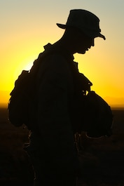 A U.S. Marine with 3rd Light Armored Reconnaissance Battalion, 1st Marine Division poses for a portrait during a Marine Corps Combat Readiness Evaluation (MCCRE) at Marine Corps Air Ground Combat Center Twentynine Palms, Calif., Sept. 22, 2017.