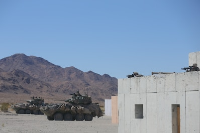 U.S. Marines with 3rd Light Armored Reconnaissance Battalion, 1st Marine Division provide security during a Marine Corps Combat Readiness Evaluation (MCCRE) at Marine Corps Air Ground Combat Center Twentynine Palms, Calif., Sept. 23, 2017.