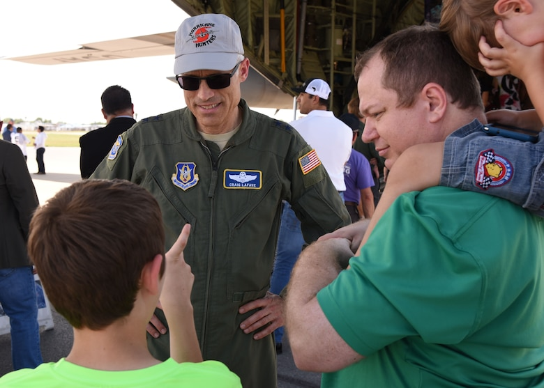 Maj. Gen. Craig La Fave, 22nd Air Force commander, talks about the U.S. Air Force Reserve's 53rd Weather Reconnaissance Squadron Hurricane Hunter mission during the 2018 NOAA Gulf Coast Hurricane Awareness Tour at McAllen Miller International Airport, McAllen, Texas, May 7, 2018. NOAA has conducted the hurricane awareness tour for more than 35 years, alternating between the U.S. Gulf and Atlantic coasts. This is the fourth year the 53rd WRS participated in all five stops of the awareness and preparedness event, which was May 7-11, 2018. (U.S. Air Force photo/Maj. Marnee A.C. Losurdo)