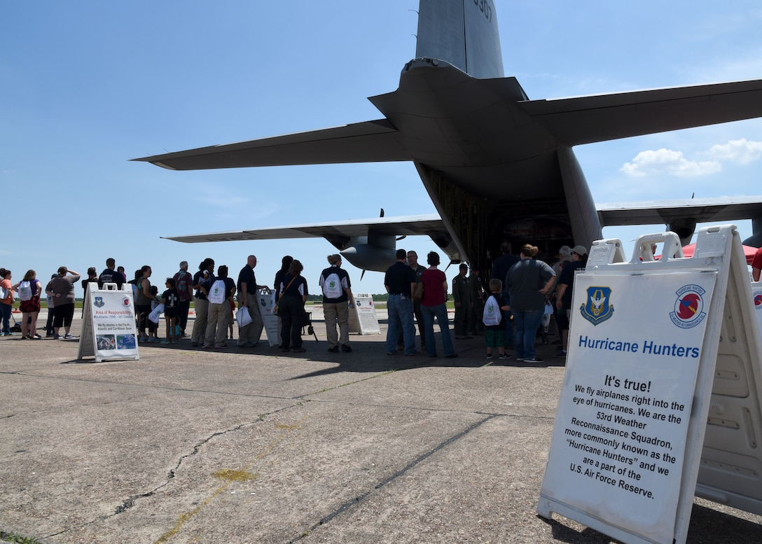 The public tours the WC-130J Super Hercules aircraft at the Jack Brooks Regional Airport, Beaumont, Texas May 8, 2018,  during the NOAA Gulf Coast Hurricane Awareness Tour. The aircraft is flown by the U.S. Air Force Reserve's 53rd Weather Reconnaissance Squadron to collect weather data for National Hurricane Center forecasts. NOAA's National Weather Service and National Hurricane Center has conducted the Hurricane Awareness Tour for more than 35 years; however, this is the fourth year the 53rd WRS has participated in all five stops of the awareness and preparedness event, which was in conjunction with National Hurricane Preparedness Week May 7-11, 2018. (U.S. Air Force photo/Maj. Marnee A.C. Losurdo)