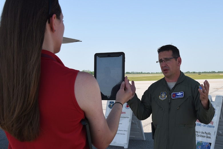 Lt. Col. Ed Garcia, 53rd Weather Reconnaissance Squadron pilot, talks about the Hurricane Hunter mission during a Facebook Live session with the National Weather Service May 10, 2018. The 53rd WRS, an Air Force Reserve unit in the 403rd Wing at Keesler Air Force Base, Mississippi, took part in the 2018 NOAA Gulf Coast Hurricane Awareness Tour May 7-11, 2018. This is the fourth year the Hurricane Hunters participated in all five stops of the awareness and preparedness event, which was in conjunction with National Hurricane Preparedness Week. (U.S. Air Force photo/Maj. Marnee A.C. Losurdo)