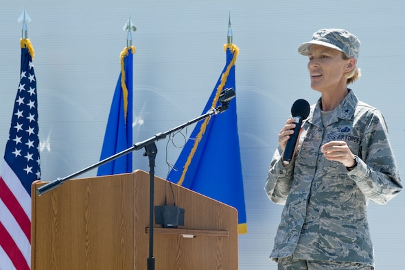 Brig. Gen. Heather Pringle, Joint Base San Antonio commander, addresses the crowd at the JBSA Airman Leadership School naming ceremony at JBSA-Lackland, Texas, May 11, 2018. The school was named in honor of Staff Sgt. Cierra Rogers, an alumnus, who died May 20, 2016, from injuries sustained after saving a family from a burning building April 29, 2016. (U.S. Air Force photo by Tech. Sgt. R.J. Biermann)
