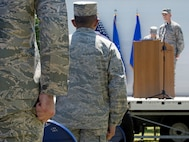 Attendees stand at attention as Master Sgt. Andrew Post, Joint Base San Antonio Airman Leadership School commandant, reads an Airman's Medal citation during the school's naming ceremony at JBSA-Lackland, Texas, May 11, 2018. The medal was awarded posthumously to Staff Sgt. Cierra Rogers, a school alumnus, who died May 20, 2016, from injuries sustained after saving a family from a burning building April 29, 2016. (U.S. Air Force photo by Tech. Sgt. R.J. Biermann)
