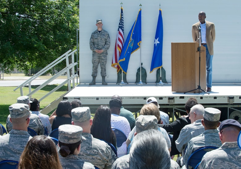 Larry Rogers, father of the late Staff Sgt. Cierra Rogers, talks about Cierra during the Joint Base San Antonio Airman Leadership School naming ceremony in her honor at JBSA-Lackland, Texas, May 11, 2018. Cierra, a school alumnus, died May 20, 2016 from injuries sustained after saving a family from a burning building April 29, 2016. (U.S. Air Force photo by Tech. Sgt. R.J. Biermann)