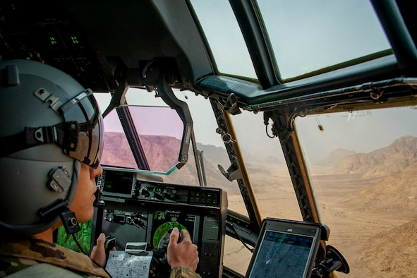 U.S. Air Force Reserve Capt. John Leslie, 327th Airlift Squadron pilot, 913th Airlift Group, conducts low-level training through the mountainous terrain of Wadi Rum in southern Jordan April 20, 2018 while supporting Eager Lion 2018.