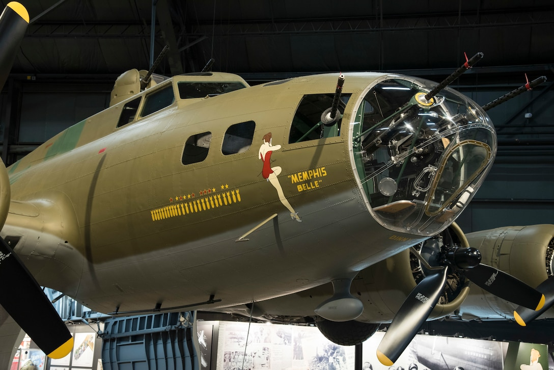 Boeing B-17F Memphis Belle on display in the WWII Gallery at the National Museum of the United States Air Force. B-17's  flew in every combat zone during World War II, but its most significant service was over Europe. Along with the B-24 Liberator, the B-17 formed the backbone of the USAAF strategic bombing force, and it helped win the war by crippling Germany's war industry.  (U.S. Air Force photo by Ken LaRock)