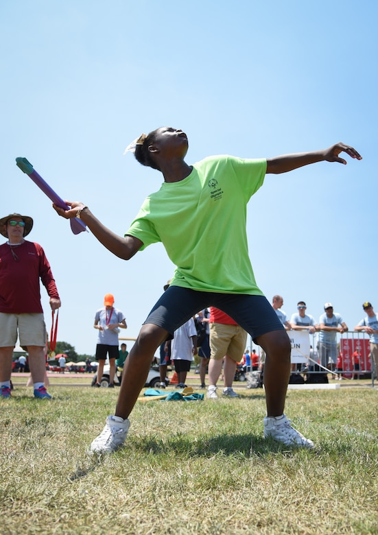 Tashanna Johnson, Area 10 athlete, competes in the javelin throw during the Special Olympics Mississippi 2018 Summer Games at the at the Triangle Track at Keesler Air Force Base, Mississippi, May 12, 2018. Founded in 1968, Special Olympics hosts sporting events around the world for people of all ages with special needs to include more than 700 athletes from Mississippi. (U.S. Air Force photo by Kemberly Groue)