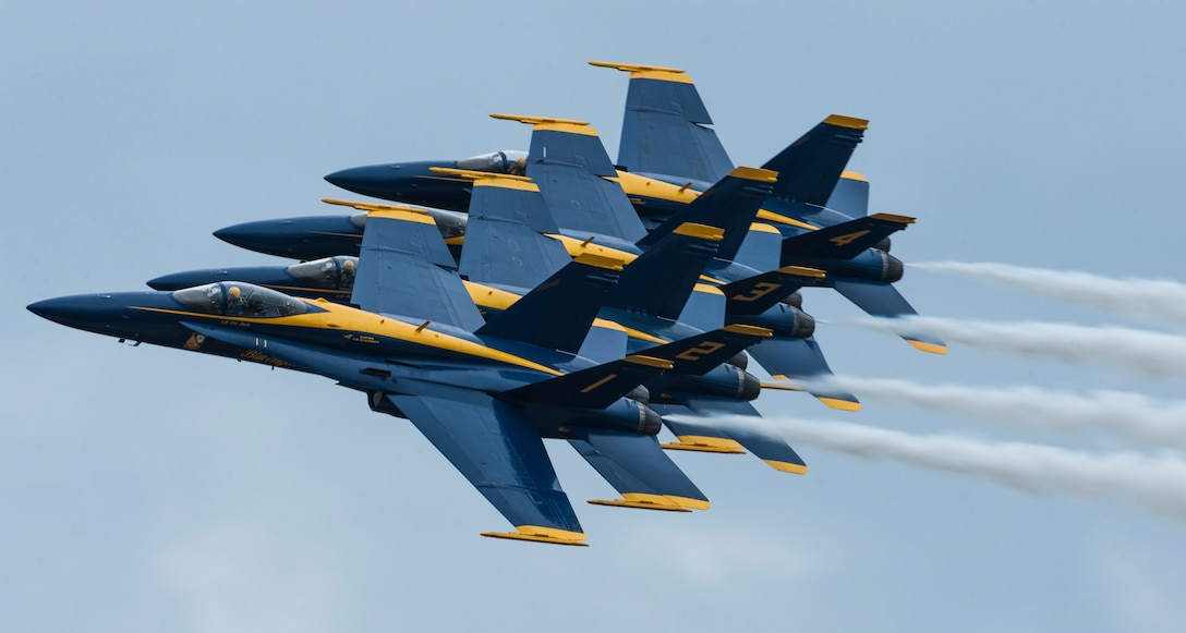 The U.S. Navy Flight Demonstration Squadron, the Blue Angels, fly in a right-echelon formation during their Tampa Bay AirFest 2018 performance at MacDill Air Force Base, Fla., May 13, 2018.