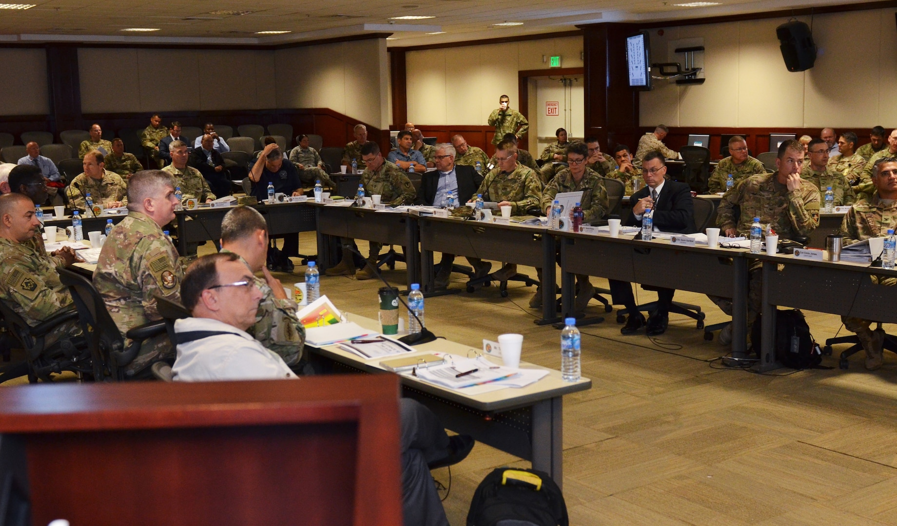 Logistics and Engineering professionals throughout the Department of Defense discuss logistics at the 2018 Joint Logistics Coordination Board at Al Udeid Air Base, Qatar 9 May, 2018. The JLCB conducts planning sessions to better facilitate support to military operations in CENTCOM's area of responsibility.