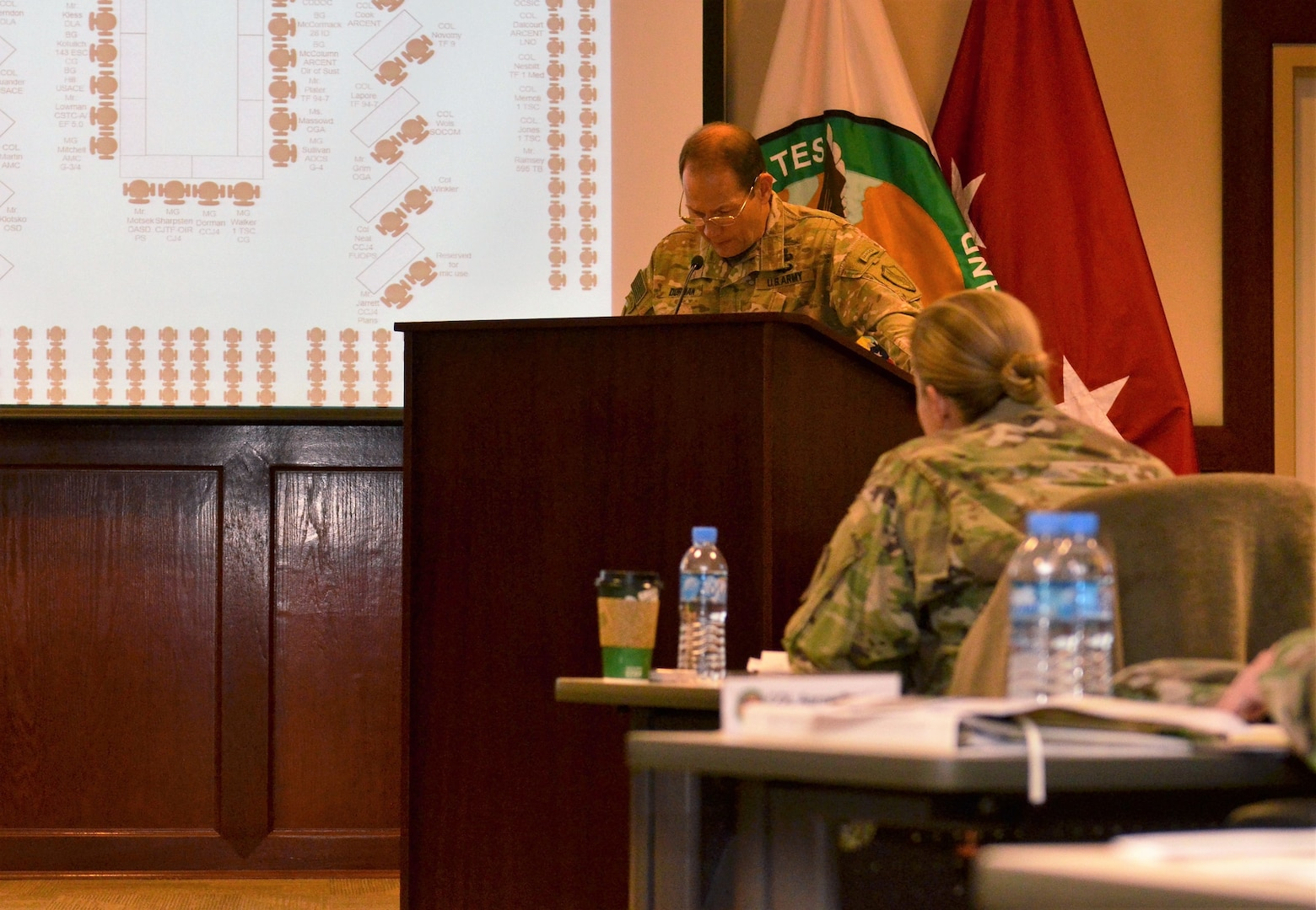 U.S. Army Major General Edward Dorman, Director of Logistics and Engineering for U.S. Central Command, addresses members of the Joint Logistics Coordination Board during a conference at Al Udeid Air Base, Qatar on 9 May, 2018. Dorman urged participants to stay focused on sustaining the fight and setting the theater as a means to support military operations. (U.S. Air Force photo by Senior Airman Patrick Wyatt)
