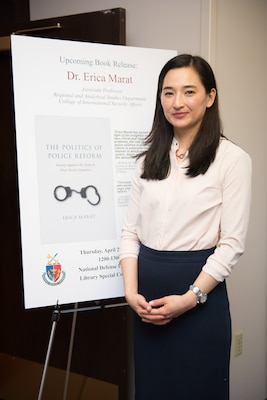 "On April 26, 2018, Dr. Erica Marat gave a talk on her new book, ""The Politics of Police Reform: Society against the State in Post-Soviet Countries."" The talk took place in the Special Collections Library at the National Defense University in Washington, DC."
