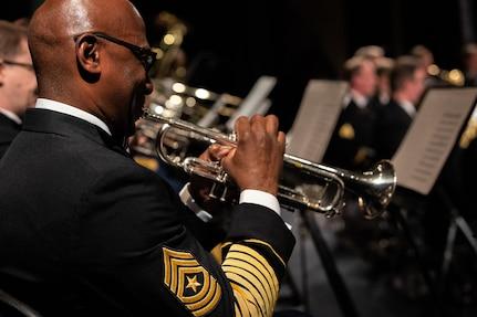 SGM Hughes plays trumpet