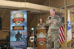 Brig. Gen. John H. Phillips, US ARCENT G-6, addresses the audience during the Best Cyber Ranger Competition, Camp Arifjan, Kuwait, May 10.