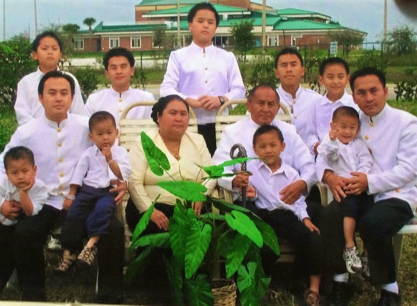 Col. Song Leng Xiong with his wife and grandchildren, Clermont, Fl. in 2008. Brandon Xiong is pictured top left.