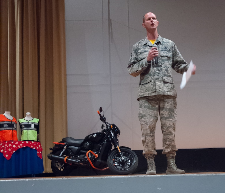 Chief Master Sgt. Jeff Richards, one of the original founders of the Green Knights International Military Motorcycle Club™, talks about the importance of mentorship and growing safe riders at Wright-Patterson's Motorcycle Safety Day May 11, 2018.