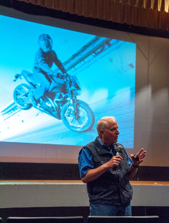 Dr. Ray Ochs, Motorcycle Safety Foundation's vice president of training systems and lead developer of the MSF Basic RiderCourse ℠, discusses stunting and other risky behavior at Motorcycle Safety Day May 11, 2018.