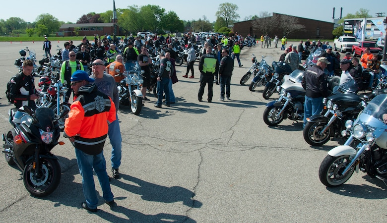 Wright-Patterson Air Force Base welcomed more than 300 military and civilian motorcycle enthusiasts here for Motorcycle Safety Day May 11, 2018.