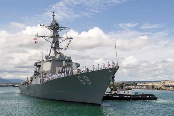 The guided missile destroyer USS Milius arrives in Pearl Harbor, Hawaii.