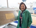 Irene Hirano Inouye, future USS Daniel Inouye (DDG 118) sponsor and wife of the late Sen. Daniel Inouye, presents her initials on the keel plate following the ship's keel authentication ceremony in Bath, Maine, May 14. The ceremony symbolically recognizes the joining of modular components and the ceremonial beginning of the ship. 