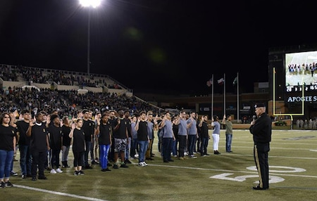 North Texas Recruits Take Oath at Football Game