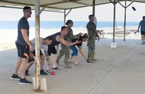 """Joint Task Force Guantanamo Troopers participate a memory game during the first """"Do You Even GTMO?"""" Challenge, a competitive obstacle course, at Naval Station Guantanamo Bay, Cuba, May 12."""