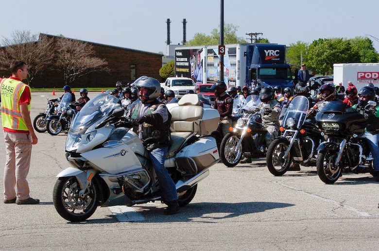 """Green Knights Chapter 32 President, Alan """"Bulldog"""" Thompson, prepares to lead more than 120 riders out on an optional 38-mile group ride as part of the Wright-Patterson Air Force Base Motorcycle Safety Day 2018."""