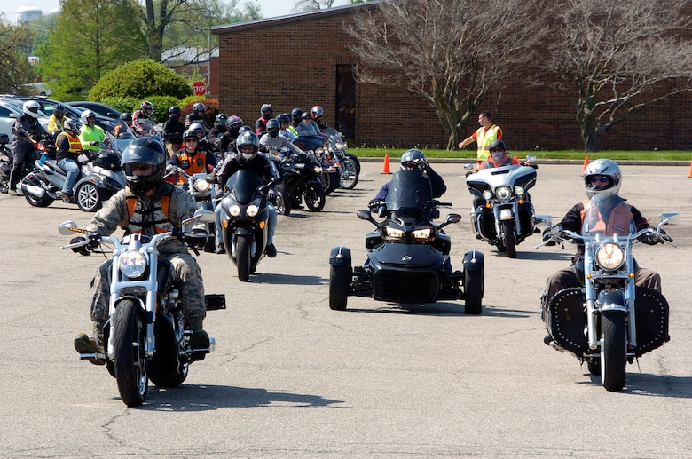 Riders depart on an optional 38-mile group ride as part of Wright-Patterson Air Force Base's Motorcycle Safey Day 2018 May 11.