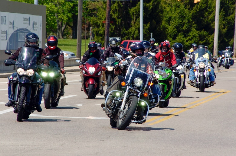 Riders return from an optional 38-mile group ride as part of Wright-Patterson Air Force Base's Motorcycle Safey Day 2018 May 11.