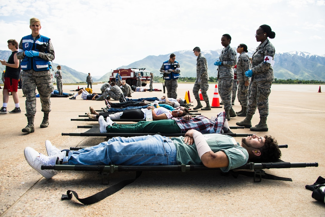 Simulated casualties await transportation during a major accident response exercise May 9, 2018, at Hill Air Force Base, Utah. The exercise was held in preparation for the Warriors Over the Wasatch Air and Space Show June 23-24. (U.S. Air Force photo by R. Nial Bradshaw)