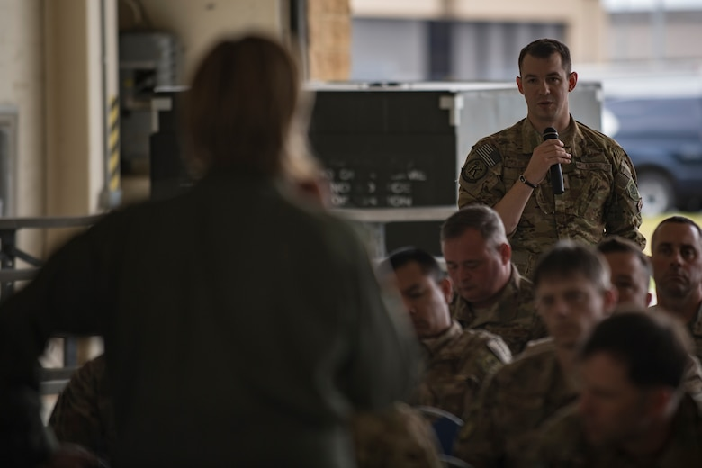 Maj. Cory Pilinko, 71st Rescue Squadron HC-130J Combat King II weapons officer, , participates in an open forum with Col. Jennifer Short, 23d Wing commander, during a one-day operational safety review, May 14, 2018, at Moody Air Force Base, Ga. During the safety review, the commander-led forum gathered feedback from Airmen who execute the Air Force's flying and maintenance operations and challenged them to identify issues that may cause a future mishap. (U.S. Air Force photo by Senior Airman Daniel Snider)