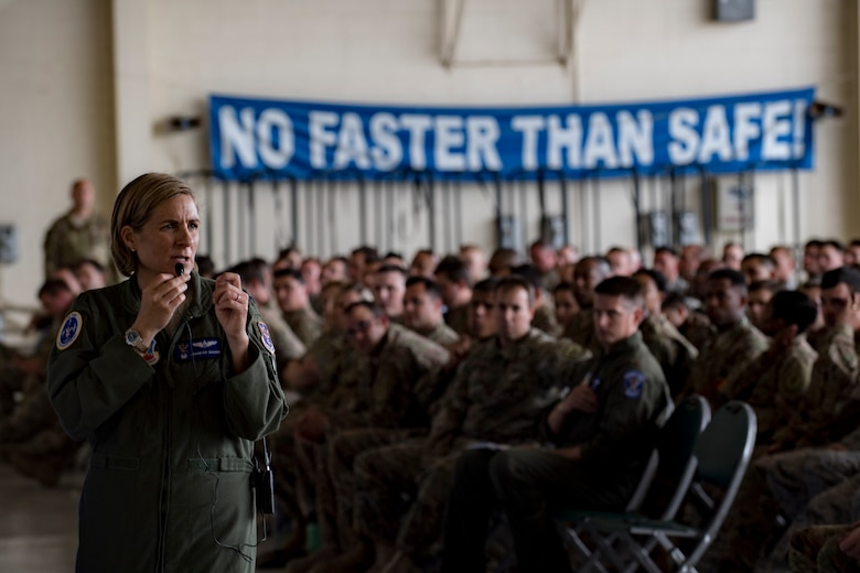 Col. Jennifer Short, 23d Wing commander, addresses Airmen from Team Moody's operations and maintenance units during a one-day operational safety review, May 14, 2018, at Moody Air Force Base, Ga. During the safety review, the commander-led forum gathered feedback from Airmen who execute the Air Force's flying and maintenance operations and challenged them to identify issues that may cause a future mishap. (U.S. Air Force photo by Senior Airman Daniel Snider)