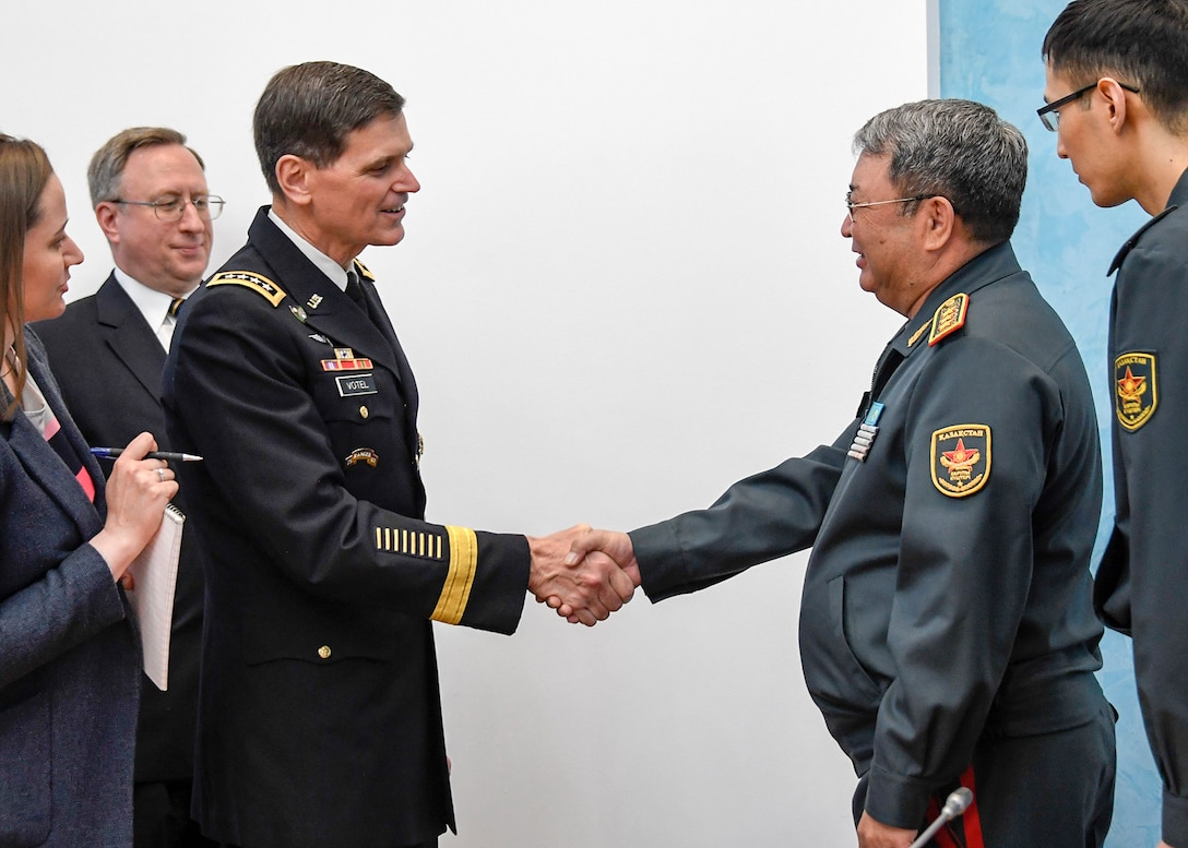 U.S. Army Gen Joseph L. Votel, commander, U.S. Central Command, meets with Gen-Col Saken Zhasuzakov, Kazakhstan Minister of Defense May 14, 2018. Votel was in Kazakhstan to meet with senior leaders to discuss topics of common interest that support security and stability in Central Asia. (U.S. Air Force photo by Tech Sgt. Dana Flamer/Released)