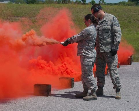 Airmen with the Mississippi and Alabama Air National Guard conduct annual explosive device training at Key Field Air National Guard Base, Meridian, Miss., May 2, 2018.