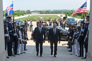Defense secretary and foreign minister meet at Pentagon.