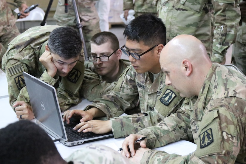 Team representing 335th Signal Command (Theater) (Provisional) participates in Best Cyber Ranger competition, Camp Arifjan, Kuwait, May 8, 2018 (U.S. Army Reserve/Andrew Benbow)
