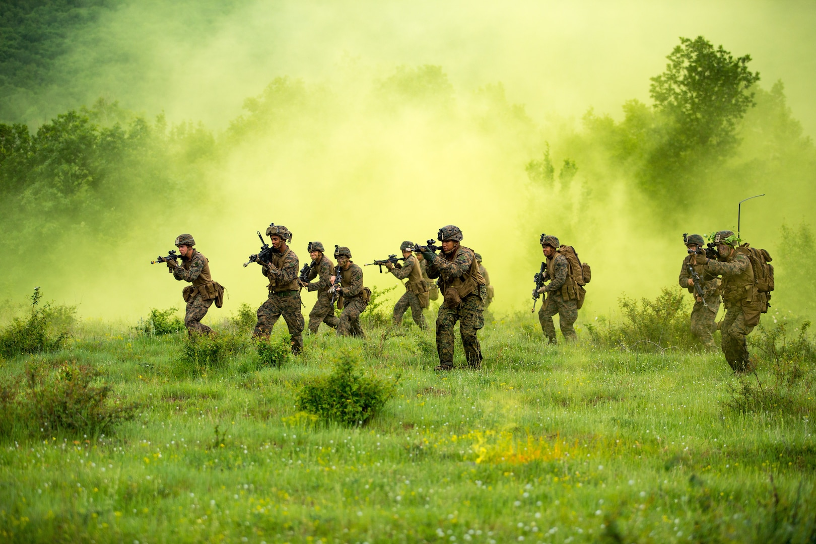 Marines with Black Sea Rotational Force 18.1 advance to their objective during patrolling exercise at Army base Nova Selo Forward Operating Site, Bulgaria, May 10, 2018 (U.S. Marine Corps/Angel D. Travis)