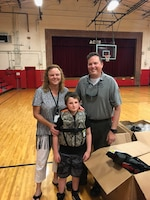 "Park Ranger Trey Church poses with a teacher and student at Ashland City Elementary School in Ashland City, Tenn., May 10, 2018. The U.S. Army Corps of Engineers Nashville District park rangers at Cheatham Lake engages students on the importance of water safety to culminate the ""2018 Summer Pledge to Practice Water Safety."" (Photo by Chip Roney)"