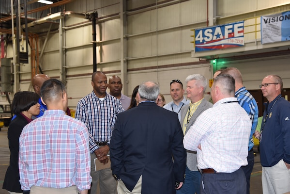 Students from the U.S. Army War College tour DLA Distribution Susquehanna, Pa.'s Eastern Distribution Center.