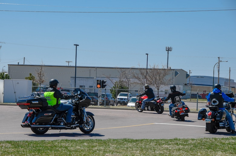 South Dakota Air National Guard motorcycle riders depart for the mentorship ride after participating in the annual motorcycle training at Joe Foss Field, S.D.