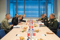 Chairman of the Joint Chiefs of Staff Gen. Joseph F. Dunford, Jr., meets with Chief of the Turkish General Staff General Hulusi Akar in Brussels, Belgium, May 16, 2018.