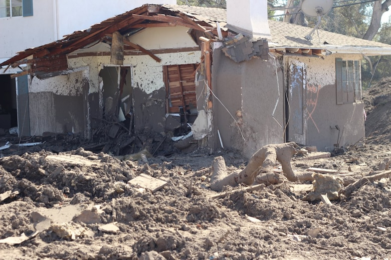 A house is covered inside and out with mud following a Jan. 9 mudslide in Montecito, California.