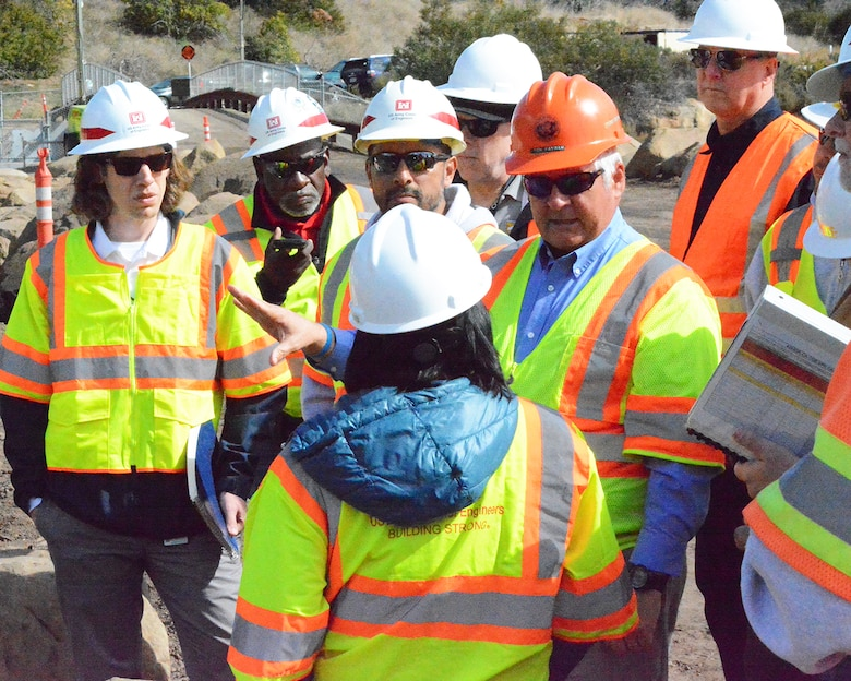 Tom Fayram, director of the Flood Control District for Santa Barbara County, speaks with representatives from FEMA and the U.S. Army Corps of Engineers Los Angeles District during a Feb. 27 meeting at the Santa Monica Basin in Santa Barbara County, California.
