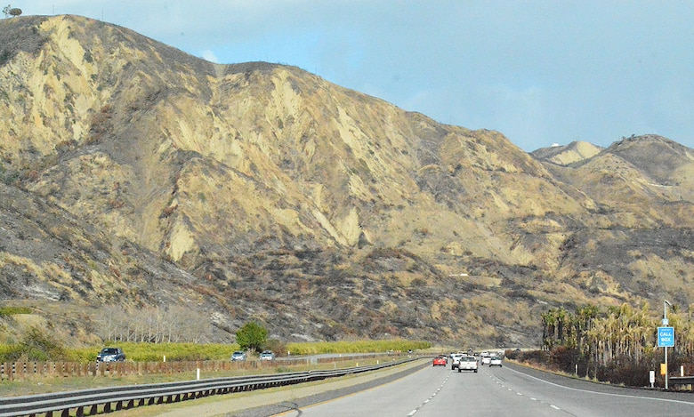 Burn scars along the mountainsides can be seen from the 101 Freeway Feb. 27 in Santa Barbara County, California. The burn scars are remnants of the Thomas Wildfire, one of the largest wildfires in California's history, which burnt more than 425 square miles between Ventura and Santa Barbara counties.