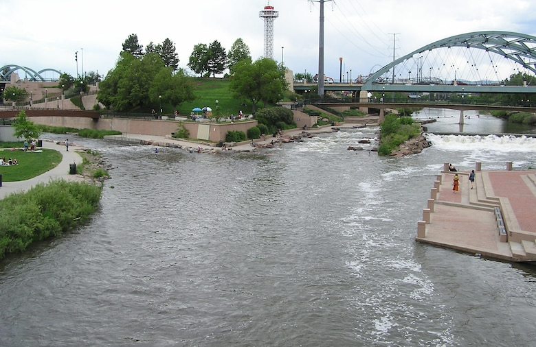 Downstream at confluence park looking upstream with Cherry Creek on the left and South Platte on the right.