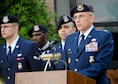Lt. Col. Scott D. Stewart, commander of the 910th Security Forces Squadron, speaks at a ceremony in recognition of Peace Officers Memorial Day outside the 910th Airlift Wing Headquarters building on Youngstown Air Reserve Station, May 16, 2018.