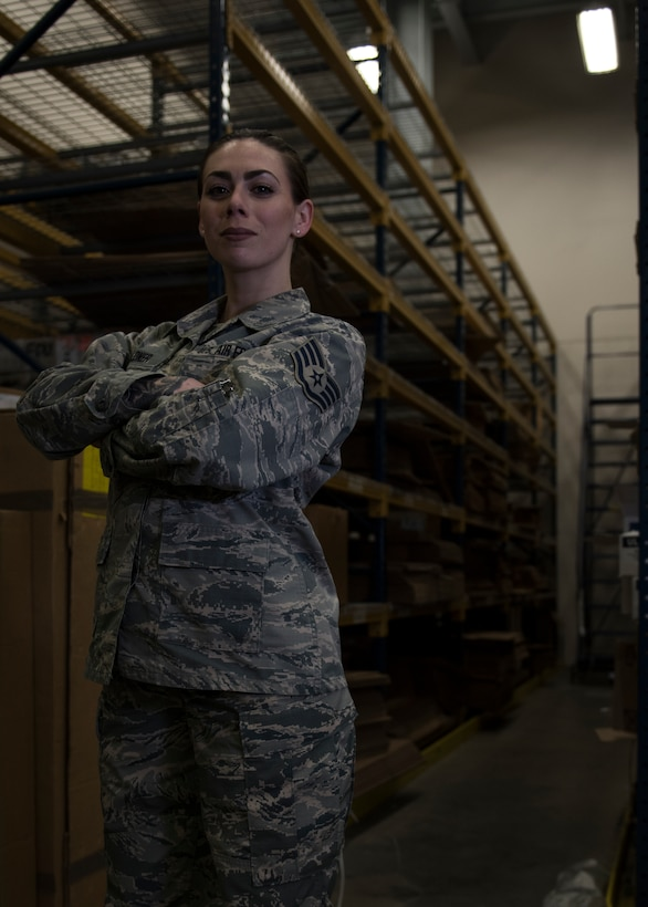 Staff Sgt. Kristin Feldner, 919th Special Operations Logistics Readiness Squadron, poses for a photo at her Hurlburt Field, Florida work center recently.