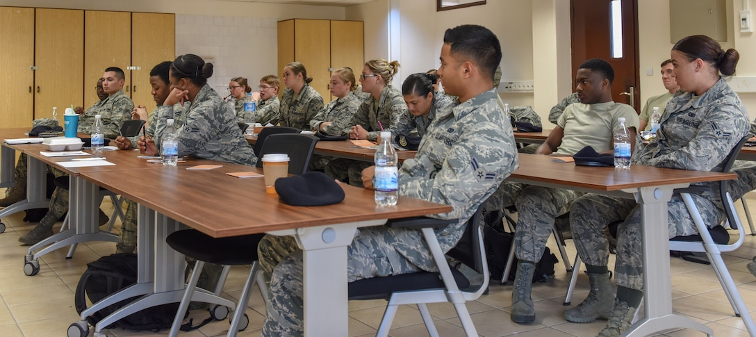 U.S. Air Force Airmen listening to mentor during FTAC.